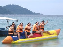 Banana boat ready for lift-off! 3... 2...1...