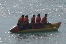 Late afternoon fun on our banana boat